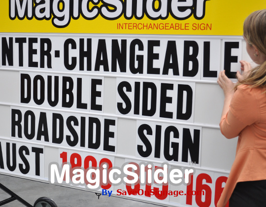 The well engineered adjustable road side sign by Magic Slider is famous for quality and being able to be used anywhere.