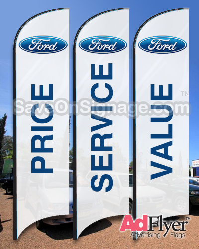 This pictures show the Ford car dealer flags.