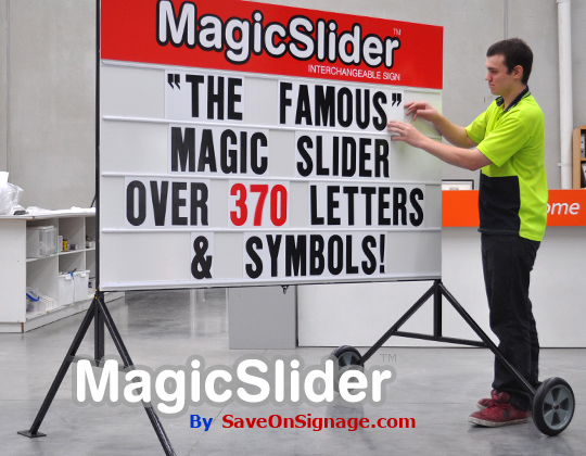 The original and best Magic Slider with over 300 interchangeable sign letters and symbols