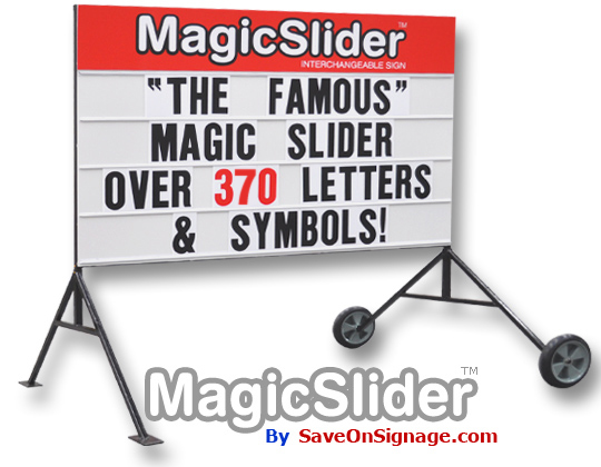Double sided outdoor sign with changing letter system by Magic Slider